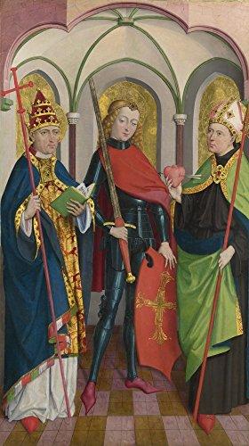 Das Museum Outlet-Circle of Master of Liesborn-Heiligen Gregor, Maurice und Augustinus, gespannte Leinwand Galerie verpackt. 96,5x 121,9cm -