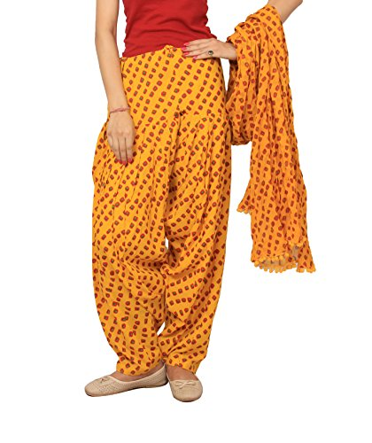 Rama Yellow Bandhej Print Patiala dupatta set.