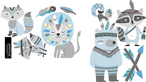 greenluup Öko Wandsticker Wandaufkleber Wandtattoo Bär Fuchs Löwe Tiere Indianer Blau Grau Kinderzimmer Junge Jungen Babyzimmer Kinder Baby (Fuchs & Freunde Blau)