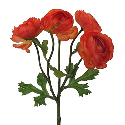 Kunstblume, Seidenblume RANUNKEL mit 5 Blüten ca 28 cm. ORANGE -70