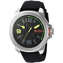 BOSS Naranja Hombre Cuarzo Acero Inoxidable y Silicona Reloj Automático, color: negro (modelo: 1513375)