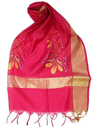 Womens Cottage Women's Pink Chanderi Handpainted Dupatta/Stole With Floral design and Golden border