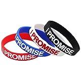 """SpringPear® 4x Silikonarmbänder Armbänder Sport Fitness Training Bodybuilding mit Text """"I PROMISE"""" für Erwachsene Jugendliche Schmuck 4 Stück in Blau Rot Weiß Schwarz"""