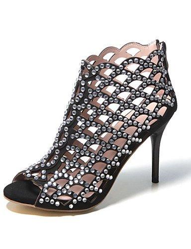LFNLYX Chaussures Femme-Habillé / Décontracté / Soirée & Evénement-Noir / Amande-Talon Aiguille-Talons / Bout Ouvert / Gladiateur-Sandales-Cuir Black