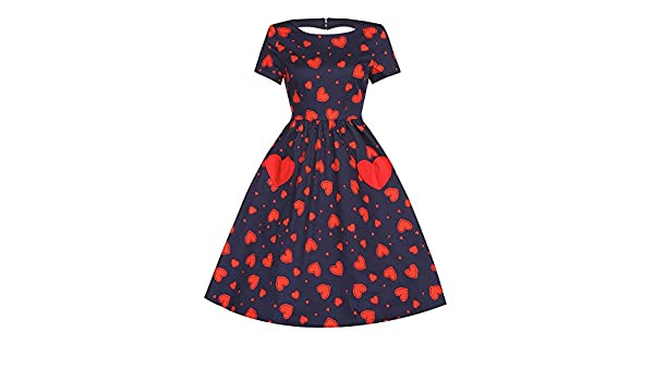 ece17bf6185cfc Lindy Bop 'Brittany' Navy Scallop Heart Print Swing Dress (12):  Amazon.co.uk: Clothing