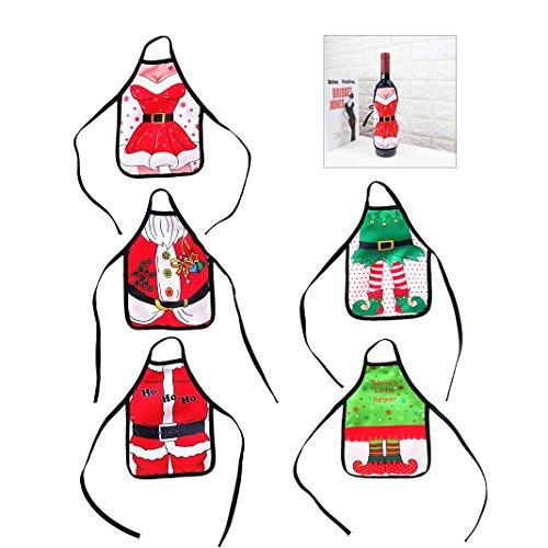 5 PCS Weihnachten Flaschentasche, Weihnachten Flasche Sets, Christmas Bottle Sets, Moon mood® Christmas Bottle Bag Weihnachts Anzug Kostüm Weinflasche Wrap-Abdeckungs Beutel Dekoration