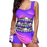 Overdose Regenbogen Damen Übergröße Bikinis Tankini Swim Kleid Badeanzug Beachwear Gepolsterte Bademode Frauen Plus Size Beachwear Badeanzüge Bikini Set (B-h-violett,EU44)