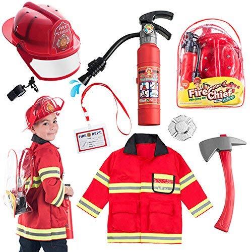 Born Toys (8-teiliges waschechtes Feuerwehrmann-Kostüm und Feuerwehrmann-Zubehör mit echtem Wasserschießen-Feuerlöscher Ideal für Halloween
