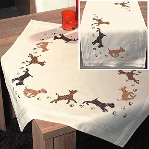 vorgedruckt Kreuzstich Stickerei Tischdecke und Läufer Kit: Braun und Schwarz Verspielte Hunde