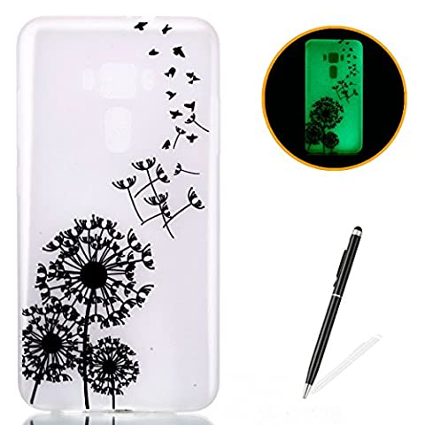 ASUS ZenFone 3 ZE552KL Silicone Gel Case [with Free 2 in 1 Black Touch Stylus],KaseHom Luminous Effect Noctilucent Green Glow in the Dark Cool Fashion Colourful Pattern Design Transparent Ultra Slim Thin Matte Clear Shockproof Soft Rubber Bumper TPU Protective Case Cover Skin Shell for ASUS ZenFone 3 ZE552KL - Birds Dandelions