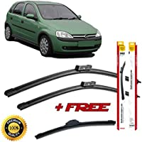 Set of 3 flat blade wiper blades for 0PEL C0RSA C 2000-2009 rear wiper