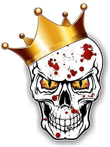 Gothic King Of Totenkopf Design Strapazierfähige Krone mit Rot & Gelb Evil Eyes und Blutspritzer Motiv für Hip Hop Skate Board & Rapper Vinyl Auto Aufkleber 115x85mm von Ctd