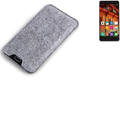 K-S-Trade Filz Schutz Hülle für Elephone P9000 Lite Schutzhülle Filztasche Filz Tasche Case Sleeve Handyhülle Filzhülle grau