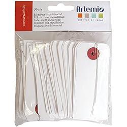 Artemio 50 étiquettes Blanches avec Fil métallique