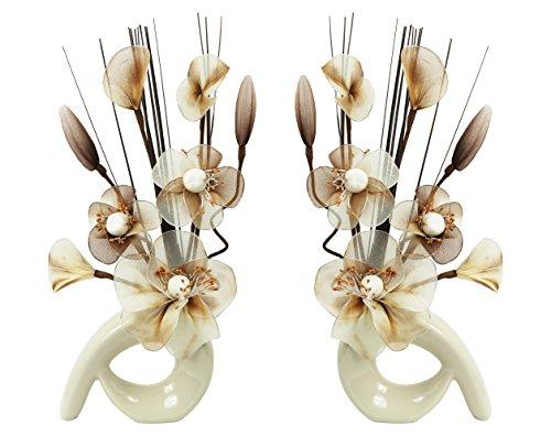 Flourish - Cream Vaso Con Fiori Finti in Tessuto e Fil di Ferro, 32 cm, Coppia Corrispondente, Decorazioni per le Casa, Colore: Caffè/Crema