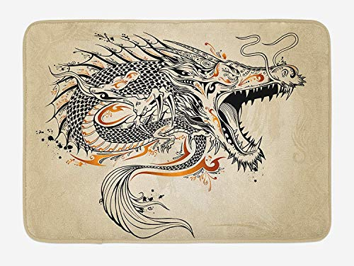 OQUYCZ Japanese Dragon Bath Mat, Doodle Style Roaring Creature with Tail Fangs Scales Tribal Details, Plush Bathroom Decor Mat with Non Slip Backing, 23.6 W X 15.7 W Inches, Tan Black Gold