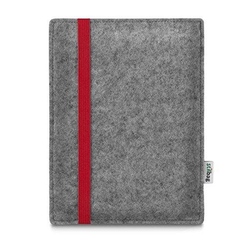 Stilbag e-Reader Tasche LEON für PocketBook Touch Lux 3 | Wollfilz hellgrau - Gummiband rot | Schutzhülle Made in Germany (Lux Rot Tasche)