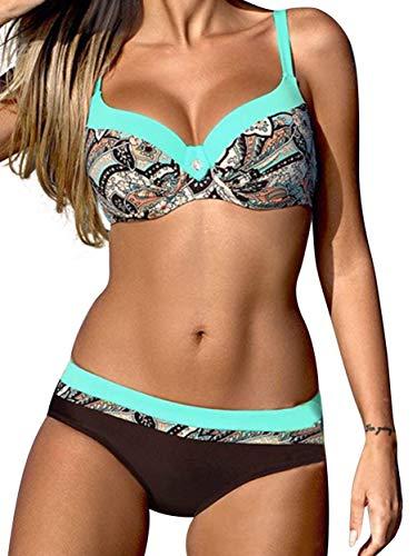 Tmaza Sexy Bikini Damen Push Up Bikini Sets Badeanzug Zweiteiler Bademode Frauen Strand Swimsuits Beachwear Blau 2XL(40-42)