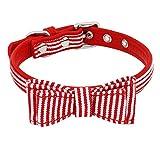 Stale Bowknot Hundehalsband Soft Puppy Hund Katze Kätzchen Bowtie Kragen Plaid Gestreifte Halskette Acessories Haustiere Chihuahua Mops red Striped XS