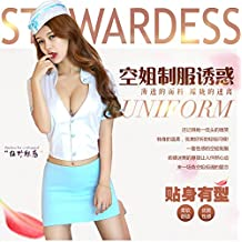 DavDoy Divise hostess esca modello di auto night bar uniformi per eseguire Costume Party Party lingerie,L [adatto per 115-125 Jin],hostess Sexy con cavallo bianco calze