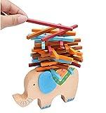 MAKFORT Baby Stapelspiel Holz Elefant Holz Balance Stapel Spielzeug Balancierspiel
