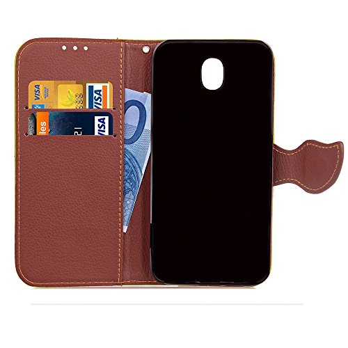 Custodia per Samsung J7 2017 (Versione europea), Galaxy J7 2017 (Versione europea) Cover a libro, iphone X Cover Flip, MoreChioce Lusso Bookstyle Flip PU Pelle Cover Moda Design Modello Gatti e alberi Fibbia a foglia-Nero