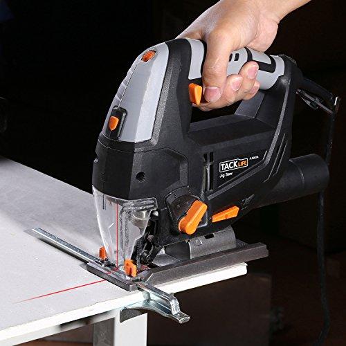 Stichsäge, Tacklife PJS02A Stichsäge mit Laser und Led-Lampe 800W,3000rpm, 100mm Schnitttiefen in Holz und 10mm in Metall, 22mm Hublänge,inkl.6 Sägeblatter - 7
