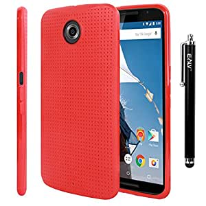 Nexus 6 Case, E LV Nexus 6 Case - Soft Slim Rubber TPU Back Case Cover for Google Nexus 6 with 1 Stylus and 1 Microfiber Cleaning Cloth - RED
