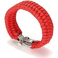 TOOGOO (R) 7 Strand Supervivencia Militar pulsera de la cuerda de la armadura de la hebilla - rojo