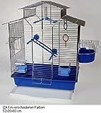 Vogelkäfig,Wellensittichkäfig,Exotenkäfig,60 cm Vogelkäfig Vogelbauer Wellensittich Kanarien Voliere Vogelhaus Käfig IZA 2 II blau
