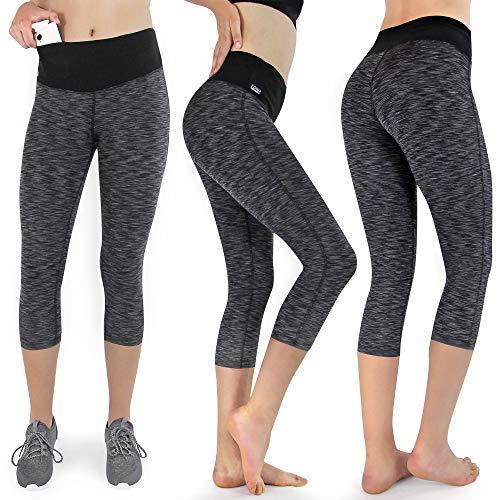 Formbelt Damen Tights 3/4 Laufhose Sport Leggings in schwarz-grau M
