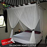 Bali Baldachin Classic Creme 160x200 inkl 4 Quasten Betthmmel Mückenschutz Moskitonetz