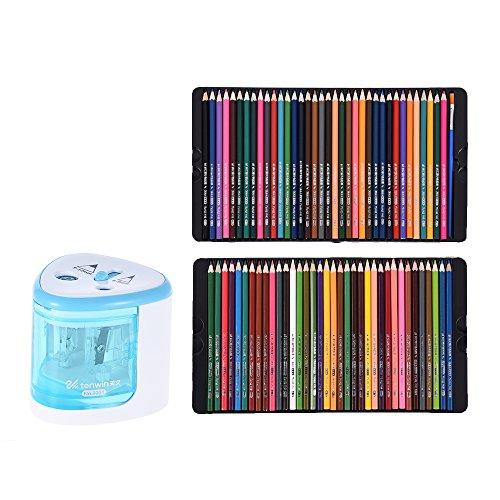 Aibecy 72 Farben Buntstifte Set mit Elektrisch Anspitzer (Kein Akku) / Pinsel / Metall Box, Aquarell Markierstifte Kunst Skizze für Malerei Grafik Zeichnung Färbung Hervorhebung Unterstreichen Blau