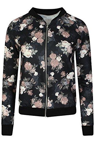 Bomberjacke mit Blumenmuster Stretch Leichte Bikerjacke Reißverschluss-Mantel Frühling Größen 36-46