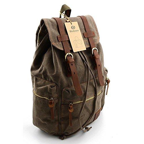 nuovo prodotto 5865d 4dec2 BLUBOON Tela Zaini Vintage Zaino Uomo Donna Unisex Canvas Backpack Rucksack  (Army Green)