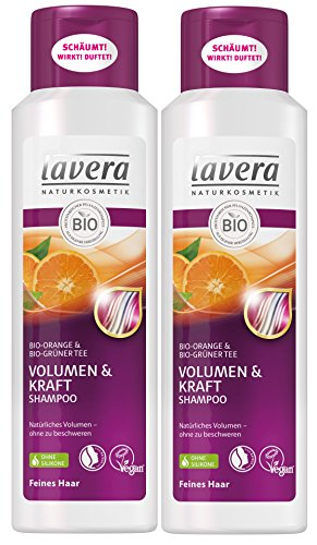 lavera Haar Shampoo Volumen & Kraft ∙ Orange & Grüner Tee ∙ Feine Haare ∙ vegan ✔ Bio Haarshampoo ✔ Natural & innovative Hair Care ✔ Naturkosmetik ∙ Haarpflege 2er Pack (2 x 250 ml) -