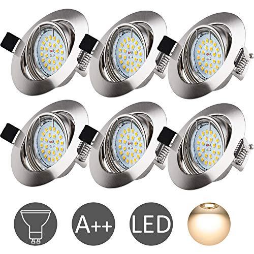 Foco Empotrable LED GU10, Wowatt 6 x Luz de Techo 6W Equivalente...