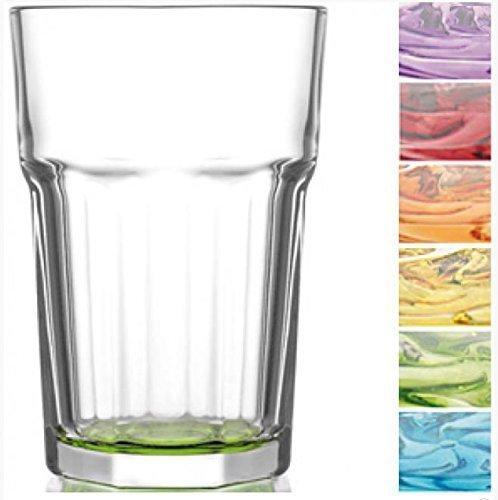 Gläser Set, farbig / Cocktailgläser / Trinkgläser / Wassergläser / Coral Retro Design (6er Set á 300ml)