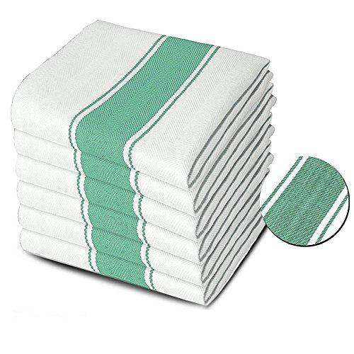 Xelay® Lot DE 24 Serviettes de Cuisine de qualité Commerciale Plat Chiffon Super Absorbant 100% Coton tissé à Chevrons à Rayures 75 x 50 cm, 100% Coton, Green, 75 x 50 cm