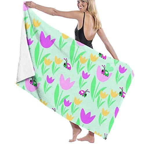 xcvgcxcvasda Serviette de bain, Lovely Flower and Ladybug Premium 100% Polyester Large Beach Towel, Suitable for Hotel, Swimming Pool, Gym, Beach, Natural, Soft, Quick Drying Serviette De Li