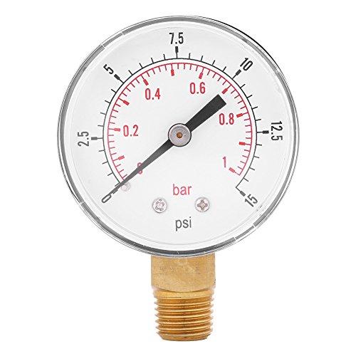 Unteren Wasser - (Manometer für Kraftstoff Luft Öl oder Wasser 0-15psi / 0-1bar BSPT Untere Montage)