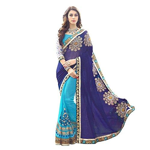 Kjp Villa Women\'s Georgette Blue Free Size embroidery Saree With Blouse Pics (zeel saree-252)