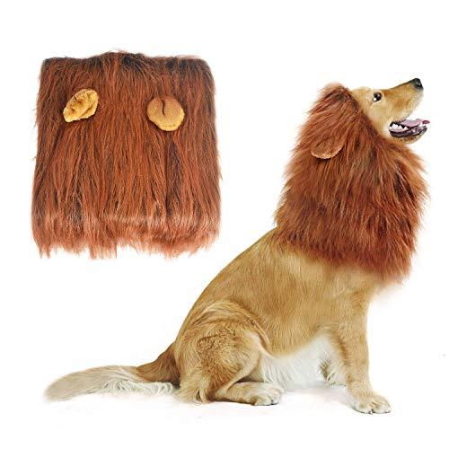 NICREW Peluca de León para Perro, Mascota Disfraz Cosplay Mascota León Cabeza Perro Peluca, Lion Mane Peluca para Perro con Orejas para Halloween Actividad de Fiesta Mascarada de Mascotas