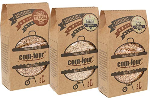 com-four® 1,5 kg Räucherspäne und -Chips aus Eiche-, Erle- und Kirschbaumholz - 100% natürlich - für Smoker-, Kugel-, Stand- und Gas-Grill (Kirsche | Eiche | Erle)