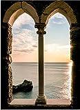 Deco Italia Quadro Verticale Archi sul Tramonto - Moderno, Effetto Trompe L'Oeil, Alta qualità | 72 x 100 cm