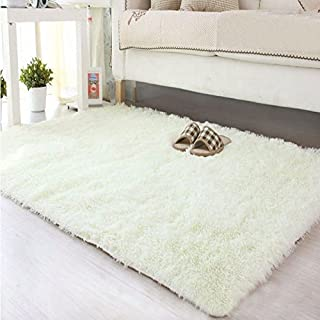 AFUT Square Fluffy Rugs Anti-Skid Shaggy Carpet Floor Mats Ideal for Dining Room Home Bedroom Living Room,120X160CM,WHITE