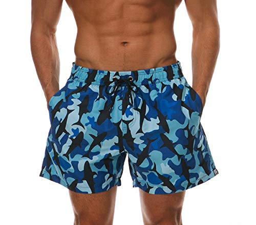 Manadlian Herren Sport Wendekreis Hawaii Schnell Trocken Strand Kurze Hose Bermudas Stämme Tafel Hose Blau -