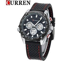 CURREN Business Men's Calendar Waterproof Genuine Rubber Strap Wrist Watch 8146G