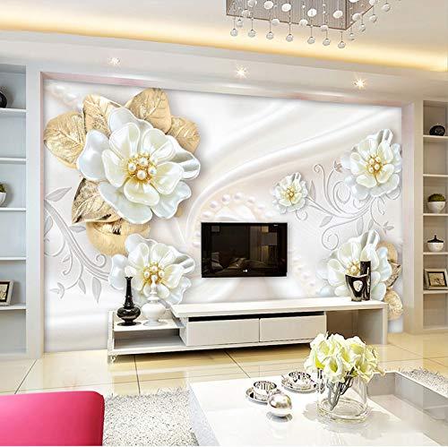 ber Tapete Wand Dekorationen Wandbilder Goldene Blume Der Weißen Perle Wohnzimmer Hintergrund Umwelt Kunst Kinder Küche (W) 250x(H) 175cm ()