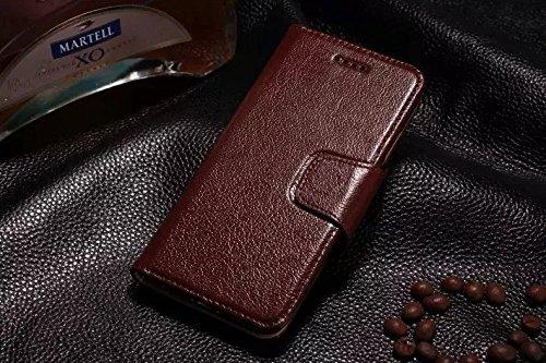 Luxus Echtes Leder Etui Geldbörse Horizontale Flip Folio Stand Case Cover mit magnetischen Wölbung & Card Slots Für Iphone 6 Plus & 6s Plus ( Color : Brown ) Brown